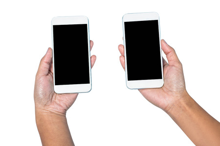 mobile communication: Businesswoman holding smartphone in each hands on white background