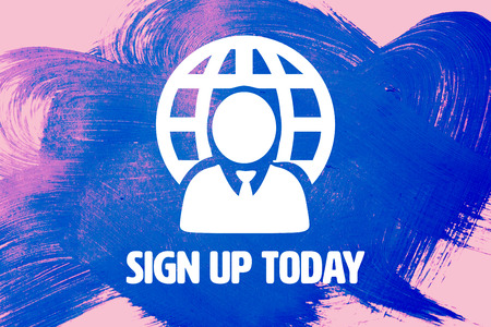 today: Sign up today against pink background