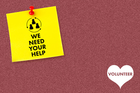yellow pushpin: We need your help against illustrative image of pushpin on yellow paper