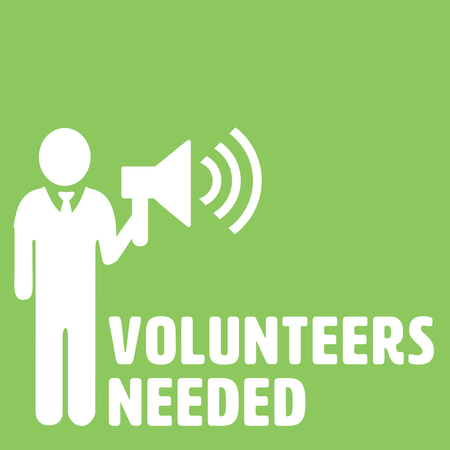 needed: Volunteers needed against green background Stock Photo