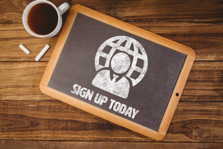 today: Sign up today against chalkboard