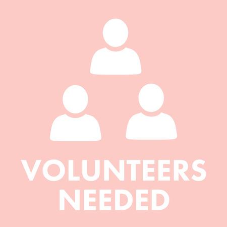 needed: Volunteers needed against light pink