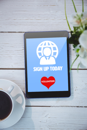 today: Sign up today against tablet on table