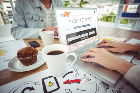 booked: Creative business team working together against holidays booking app