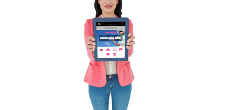 booked: Elegant brunette using tablet against holidays booking app