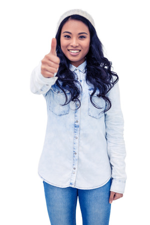 Asian woman showing thumb up on white screen Imagens