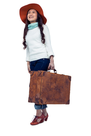pre adult: Asian woman with hat holding luggage on white screen