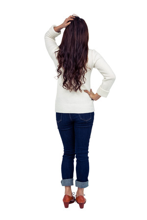 pre adult: Rear view of brunette with hand on hair on white screen