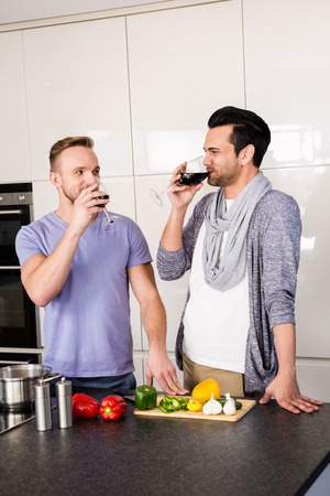 young adult men: Smiling gay drinking red wine in the kitchen Stock Photo