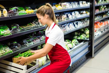 Vrouwelijke werknemer brengen plantaardige box in plank in supermarkt Stockfoto