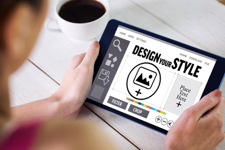 using tablet: Woman using tablet pc against designer interface