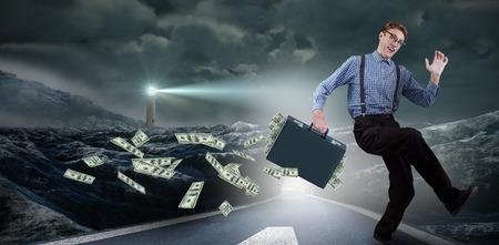 running businessman: Running businessman against headlight road landscape