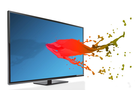flat screen television: Flat screen television against pink paint splashes and drops Stock Photo