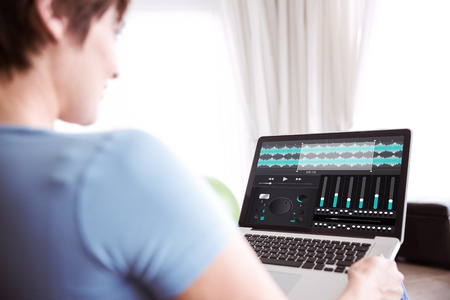 remix: Pregnant woman using her laptop against music app