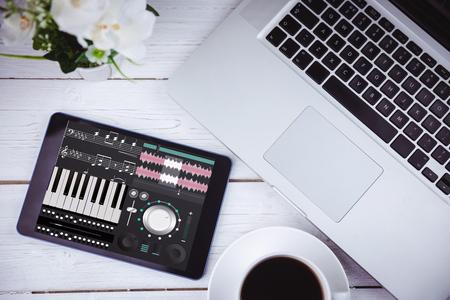 remix: Music app against tablet on desk