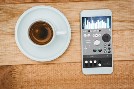 remix: Music app against above view of a coffee and a smartphone