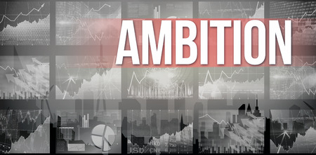 ambition: The word ambition and stocks and shares against cityscape silhouette