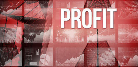 stocks and shares: The word profit and stocks and shares against skyscraper Stock Photo