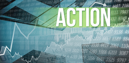 stocks and shares: The word action  and stocks and shares against skyscraper Stock Photo