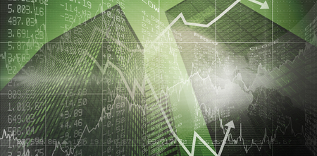 stocks and shares: Stocks and shares against skyscraper Stock Photo