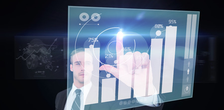 percentages: Unsmiling businessman in suit pointing up his finger against percentages graphical representation