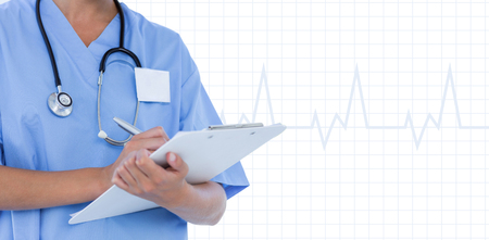 doctor writing: Doctor writing on clipboard against medical app