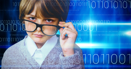 make believe: Cute pupil pretending to be teacher against blue technology design with binary code Stock Photo