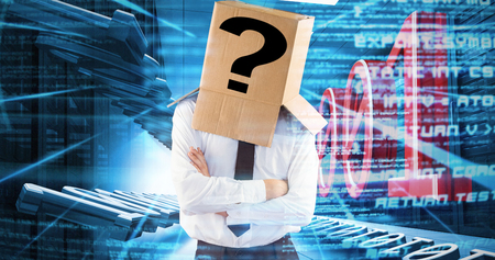 electricity export: Anonymous businessman with arms crossed against abstract blue text Stock Photo