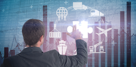 problem solution: Businessman pointing with his fingers against blue data Stock Photo