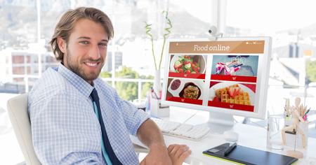 artists mannequin: Food app against smiling designer sitting at his desk
