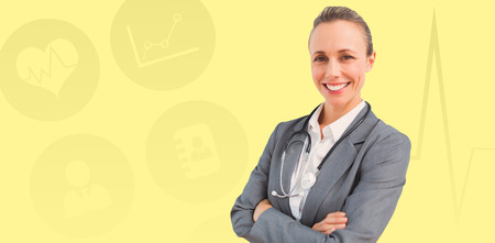 forensic science: Smiling doctor woman against yellow background Stock Photo