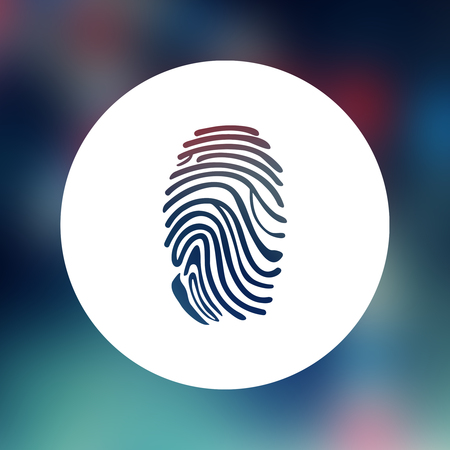 fingerprint: Blue round with fingerprint against blue dna strand with chemical structures Stock Photo