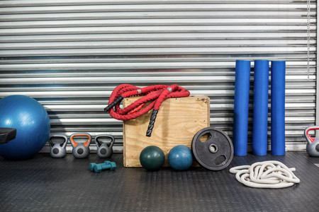 equipment: View of fitness equipment at crossfit gym Stock Photo