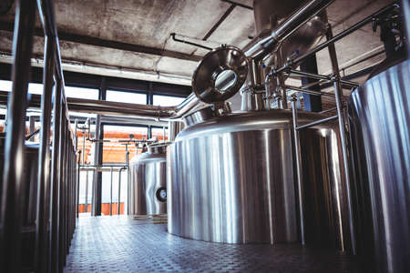 microbrewery: Large silver vats of beer at microbrewery
