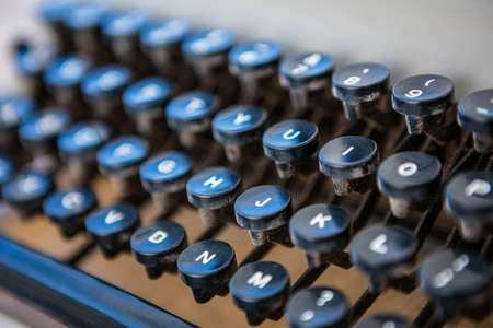 writing desk: Close up of old fashioned type writer focus on keys