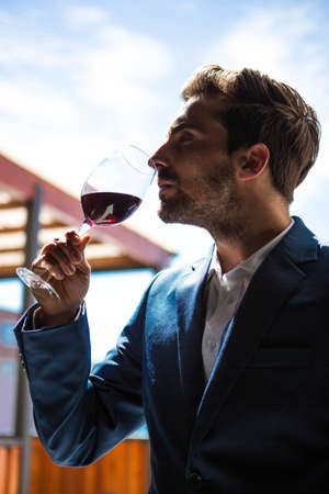 well dressed: Well dressed man tasting glass of wine at winefarm LANG_EVOIMAGES