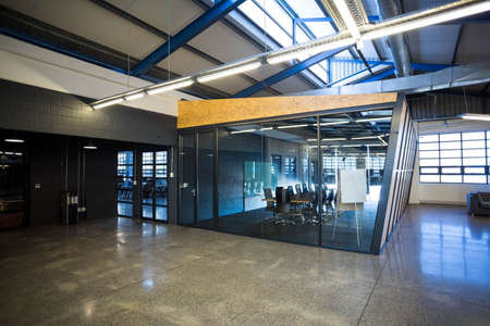 open plan: Cool office building with board room and open plan