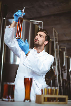 brewer: Brewer checking beaker of beer at the local brewery LANG_EVOIMAGES