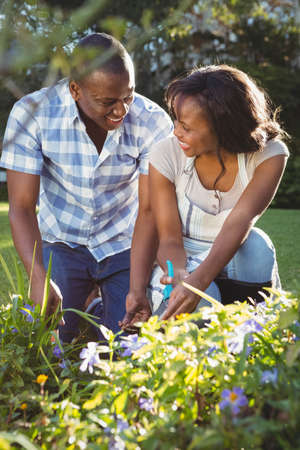 ethnic couple: Ethnic couple doing some gardening outside LANG_EVOIMAGES