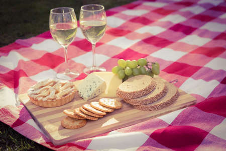 nick: Tray with cheese and white vine for a pic-nick