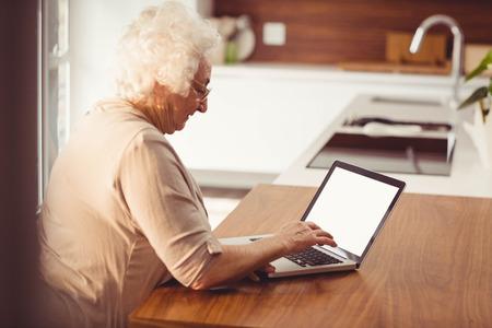 Het typen van de bejaarde op laptop thuis