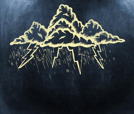 monsoon clouds: Outline of lightning cloudsagainst black background