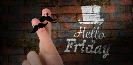 hi hat: Fingers with mustache against texture of bricks wall