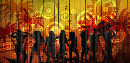 computer dancing: Wooden planks background against digitally generated colourful nightclub background Stock Photo