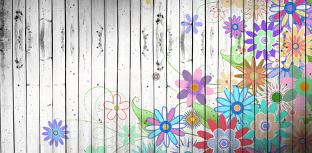 girly: Digitally generated girly floral design against wooden planks background