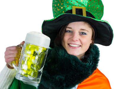 st  patty: Pretty brunette celebrating Saint Patricks day on white background