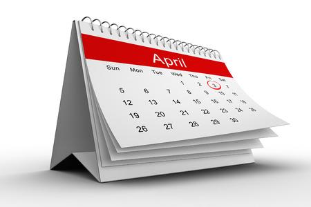 weekdays: April calendar on white background