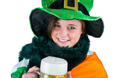 saint patty: Pretty brunette celebrating Saint Patricks day on white background