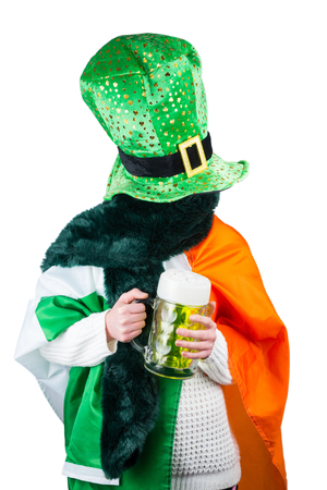 st  patty: Woman celebrating Saint Patricks day on white background
