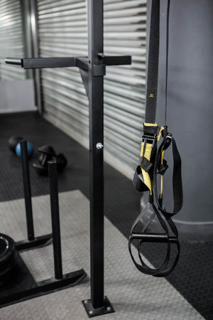 gritty: Hanging rope at the crossfit gym Stock Photo